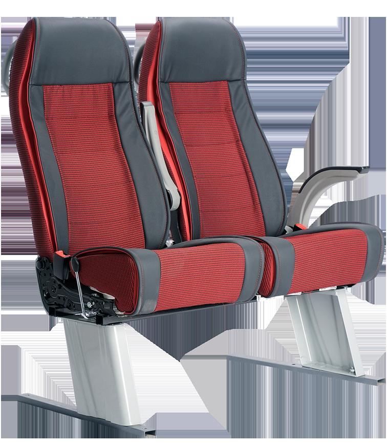 Butaca 4030 X diseño gris y rojo vista delantera